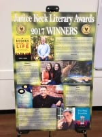 Poster display of Janice Keck Literary Award winners bios and book covers/